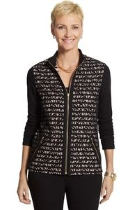 ZENERGY By Chico's KNIT LACE STRIPE JACKET